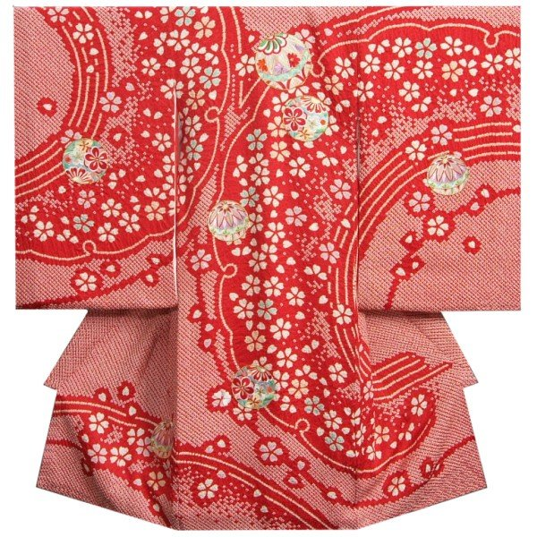 お宮参り 着物 女の子 正絹初着 赤 四つ巻き本鹿子絞り まり 雪輪に桜 柄総刺繍使い 日本製