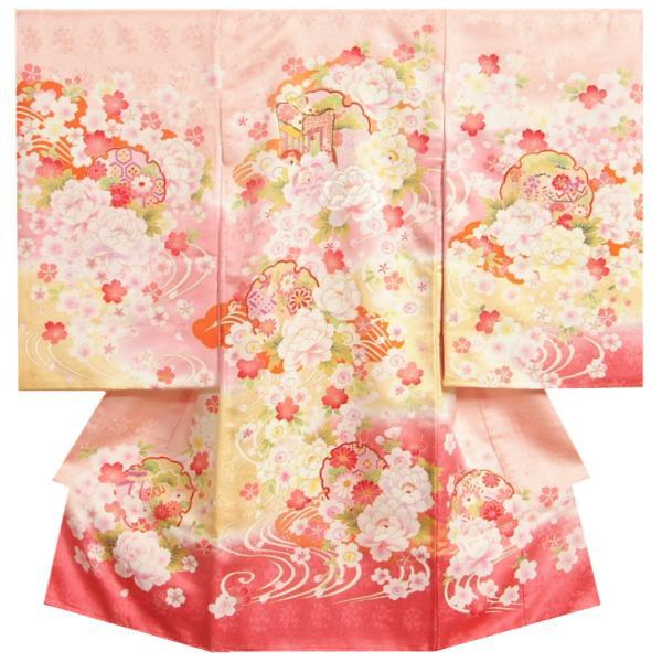 お宮参り 着物 正絹 女児初着 濃淡ピンク黄色二色染分け 御所車 刺繍使い牡丹 金駒刺繍 サヤ地紋 日本製