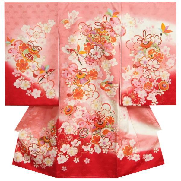 お宮参り 着物 女の子 正絹女児初着 赤色 金彩友禅 箔使い 束ね熨斗 本サヤ地紋生地 日本製