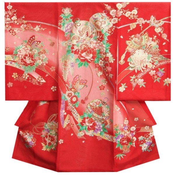 お宮参り 着物 夏用 女の子 正絹 赤色 鈴 蝶 牡丹菊 絽生地