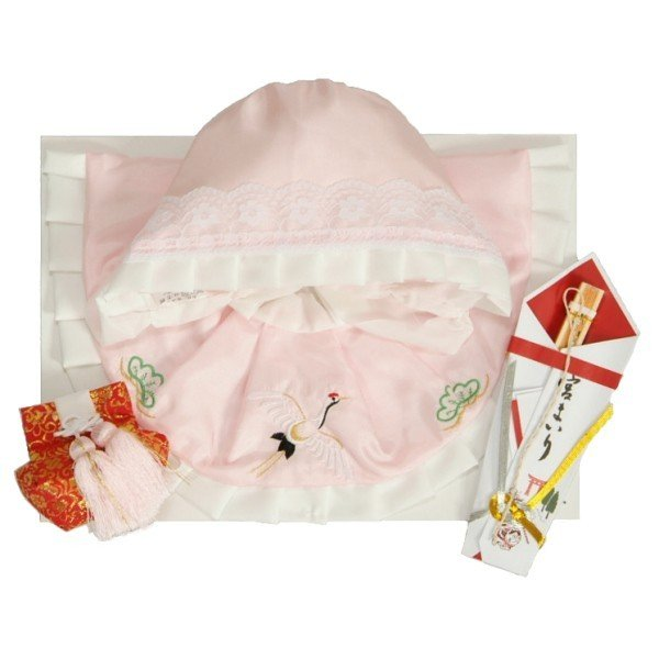 お宮参り着物用 涎掛け帽子セット ポリエステル生地 フードタイプ ピンク 白トリミング お宮参り4点セット 女の子向き 日本製