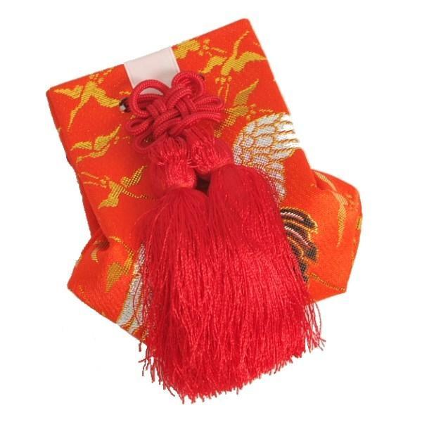 お宮参り小物 お守り袋 赤色 化粧箱付 女の子に最適 日本製