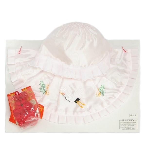 お宮参り着物用 涎掛け帽子セット アセテート生地 フードタイプ ピンク お宮参り3点セット 女の子向き 日本製