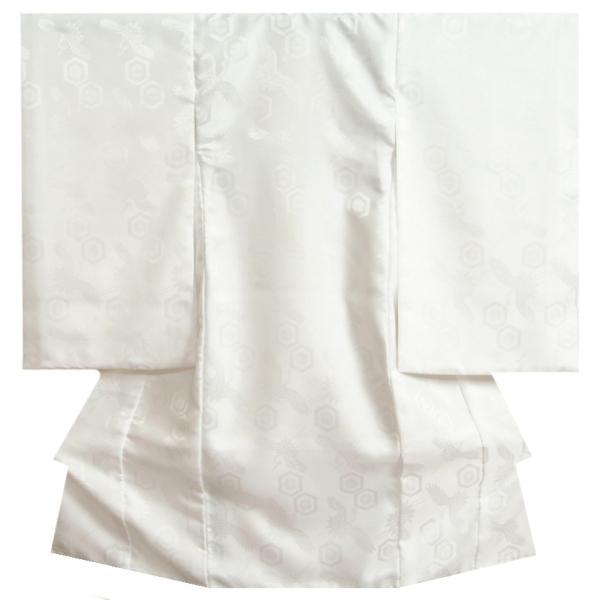 お宮参り着物用長襦袢 白 つけ袖付き 袷仕立て ポリエステル 地紋生地 日本製