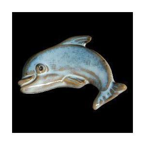 瀬戸赤津焼帯留め飾り おもしろ帯留シリーズ 瀬戸物 陶器 イルカ 青色 日本製 通常の帯〆でも使用可能な幅広金具使用