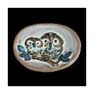 瀬戸赤津焼帯留め飾り おもしろ帯留シリーズ 瀬戸物 陶器 夫婦ふくろう 淡藍色 日本製 通常の帯〆でも使用可能な幅広金具使用
