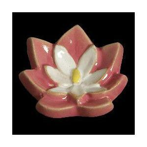 瀬戸赤津焼帯留め飾り 華畑シリーズ 瀬戸物 陶器 すいれん エンジ白色 日本製 通常の帯〆でも使用可能な幅広金具使用