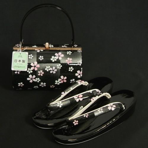 草履バッグセット 振袖 訪問着 黒銀市松 小桜柄 一枚芯 フリーサイズ 丸筒型バッグ 日本製