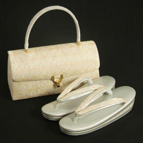 草履バッグセット 振袖 訪問着 留袖 ゴールド シルバー 有職紋 織生地使い 三枚芯 フリーサイズ 日本製