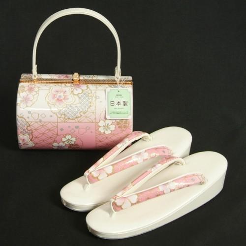 草履バッグセット 振袖 訪問着 ピンク白ぼかし 雪輪 桜柄 一枚芯 フリーサイズ 丸筒型バッグ 日本製