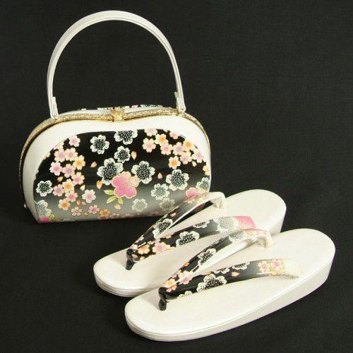 草履バックセット 振袖 訪問着 白地 黒 一枚芯  合皮使い フリーサイズ 日本製