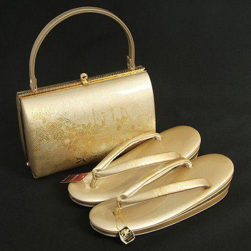 草履バックセット 振袖 訪問着 留袖 金鷲ブランド 濃淡ゴールドぼかし 螺鈿使い 華流水 三枚芯 Lサイズ 日本製
