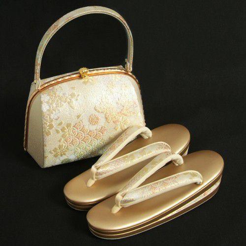 草履バックセット 振袖 訪問着 ゴールド シルバー 桜七宝柄 三枚芯 Sサイズ  日本製