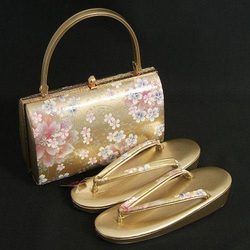 草履バックセット 振袖 訪問着 ゴールド 桜柄 一枚芯 Sサイズ 日本製
