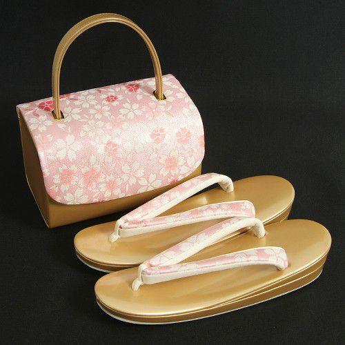 草履バックセット 振袖 訪問着 ゴールド ピンク 帯地使い 桜柄  二枚芯 LLサイズ  日本製