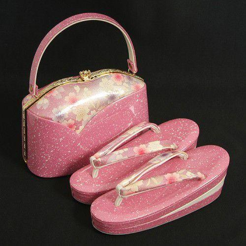 草履バックセット 振袖 訪問着 ピンク 白箔柄 桜 三枚芯 Sサイズ 日本製