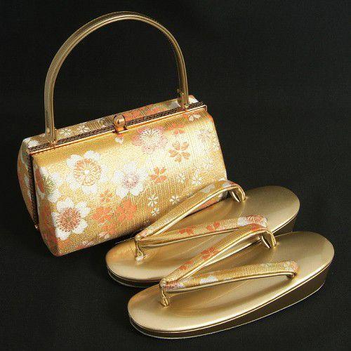 草履バックセット 振袖 訪問着 ゴールド 織生地 桜柄 一枚芯 Sサイズ 日本製