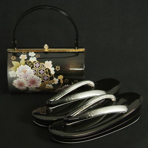 草履バッグセット 振袖 訪問着 黒シルバー濃淡ボカシ 八重桜 丸筒型バッグ 二枚芯 フリーサイズ 日本製