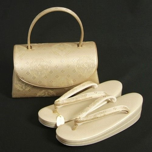 草履バックセット 振袖 訪問着 留袖 ゴールド 花菱柄 優花緒使用 二枚芯 フリーサイズ 日本製
