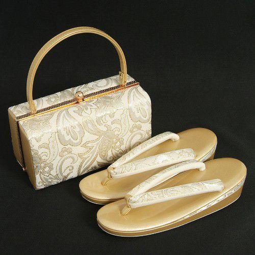 草履バッグセット 振袖 訪問着 ゴールド シルバーホワイト フリーサイズ 角型バック 二枚芯 日本製