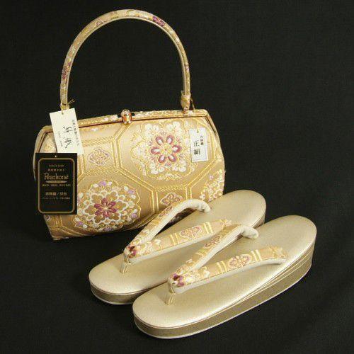 草履バッグセット 振袖 訪問着 紗織ブランド 西陣織正絹 ゴールド 亀甲唐花文様 パールトーン加工 三枚芯 Lサイズ 日本製