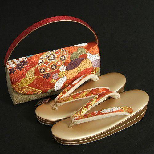 草履バックセット 振袖 訪問着 赤 ゴールド 小筒かぶせ型バック 二枚芯 LLサイズ 日本製