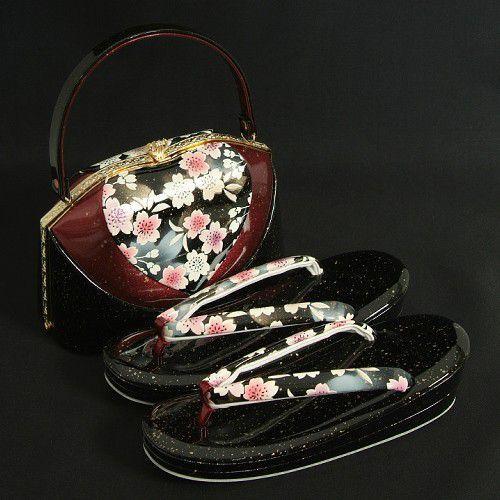草履バックセット 振袖 訪問着 黒エンジ切替 桜柄 二枚芯  LLサイズ 日本製