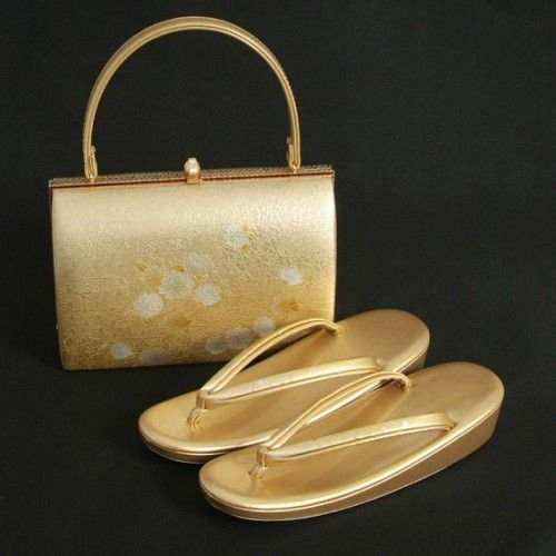 草履バックセット 振袖 訪問着 留袖 ゴールド 雲水華柄 一枚芯 フリーサイズ 日本製