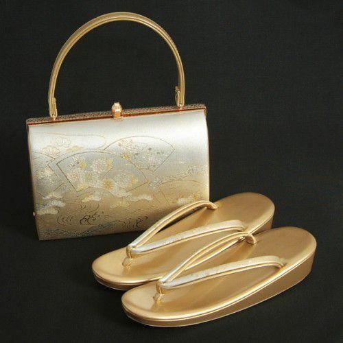 草履バックセット 振袖 訪問着 留袖 シルバー ゴールド 扇面地紙流水 一枚芯 フリーサイズ 日本製
