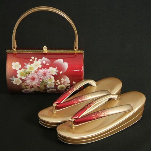 草履バッグセット 振袖 訪問着 ゴールド 赤 牡丹菊 丸筒型バッグ 二枚芯 フリーサイズ 日本製
