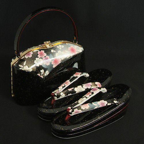 草履バックセット 振袖 訪問着 黒 ゴールド箔柄 桜 三枚芯 Sサイズ 日本製