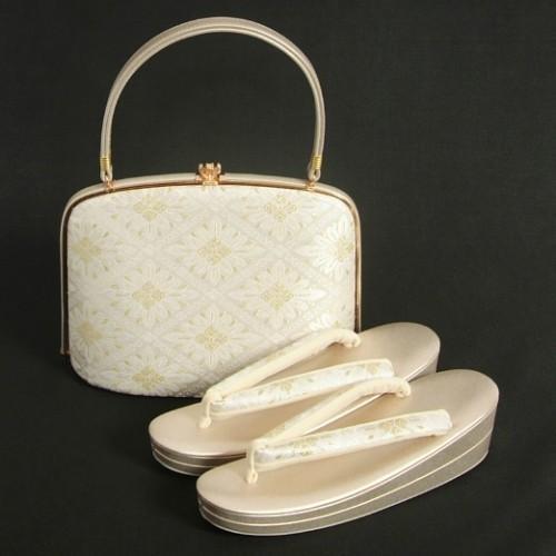 草履バッグセット 振袖 留袖 訪問着 西陣織正絹生地 パールホワイト ゴールド 花菱文様 フリーサイズ 二枚芯 日本製