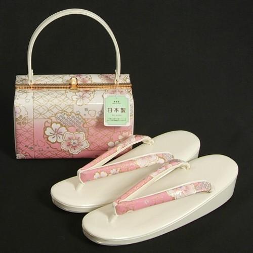草履バッグセット 振袖 訪問着 ピンク白ぼかし 雪輪 桜柄 一枚芯 LLサイズ 角型バッグ 日本製