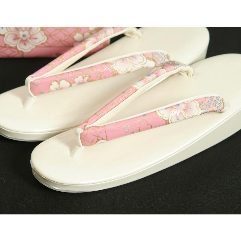 草履バッグセット 振袖 訪問着 ピンク白ぼかし 雪輪 桜柄 一枚芯 LLサイズ 角型バッグ 日本製 doresukimono-kyoubi 02