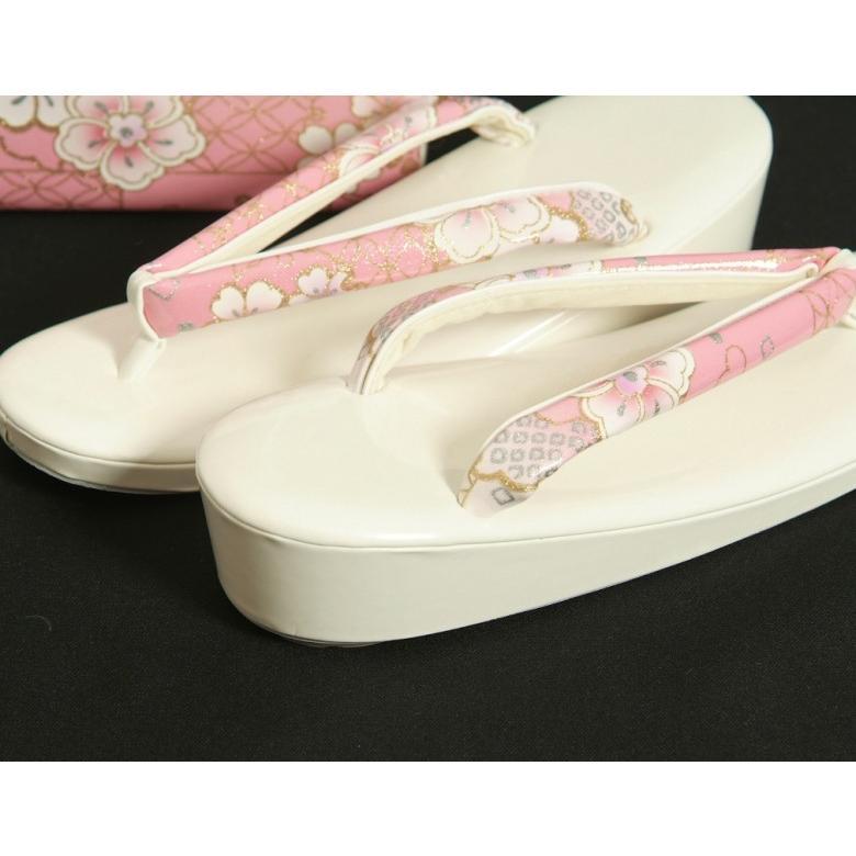 草履バッグセット 振袖 訪問着 ピンク白ぼかし 雪輪 桜柄 一枚芯 LLサイズ 角型バッグ 日本製 doresukimono-kyoubi 03