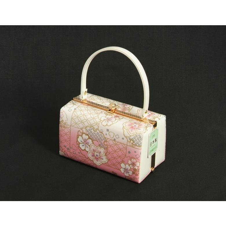 草履バッグセット 振袖 訪問着 ピンク白ぼかし 雪輪 桜柄 一枚芯 LLサイズ 角型バッグ 日本製 doresukimono-kyoubi 04