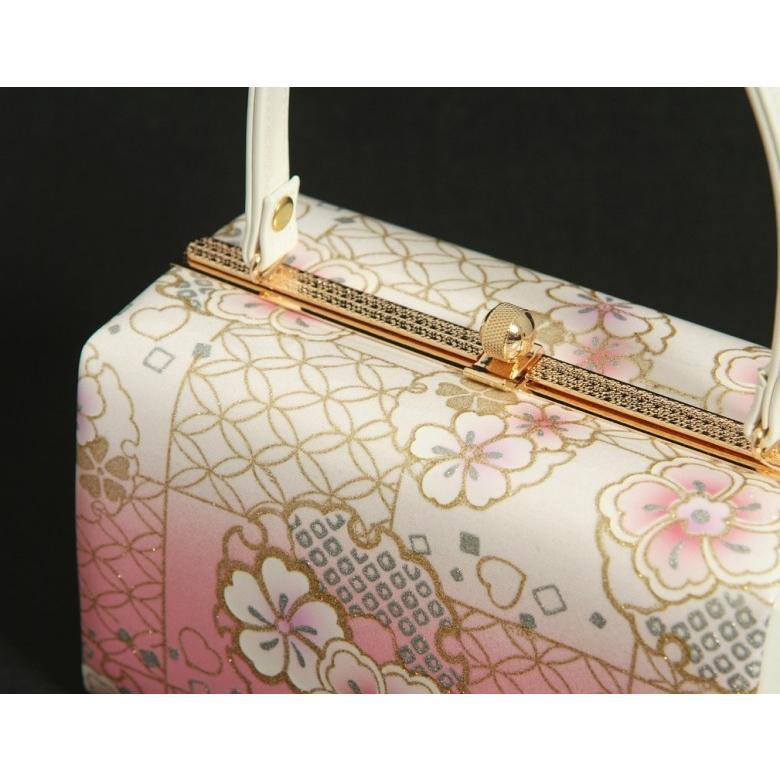 草履バッグセット 振袖 訪問着 ピンク白ぼかし 雪輪 桜柄 一枚芯 LLサイズ 角型バッグ 日本製 doresukimono-kyoubi 05