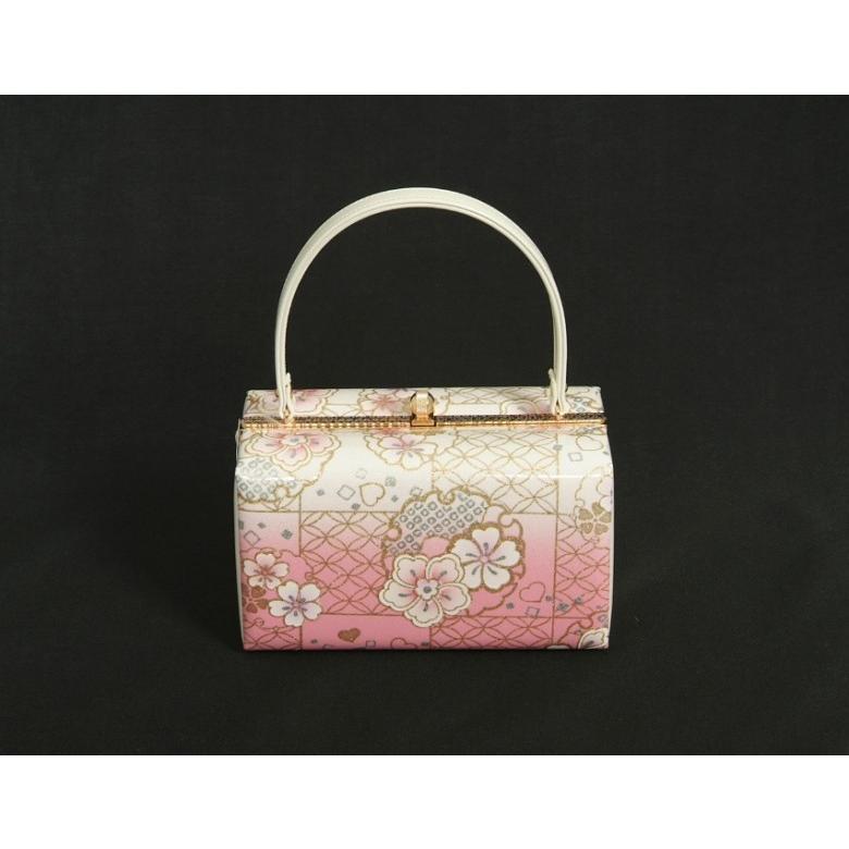 草履バッグセット 振袖 訪問着 ピンク白ぼかし 雪輪 桜柄 一枚芯 LLサイズ 角型バッグ 日本製 doresukimono-kyoubi 06