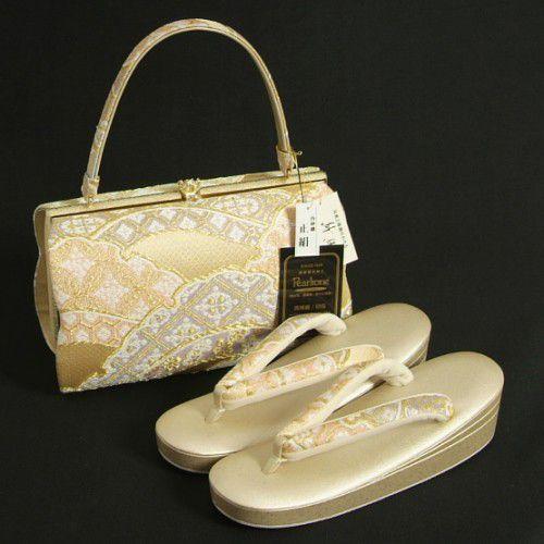 草履バッグセット 振袖 訪問着 紗織ブランド 西陣織正絹 パールゴールド 雲掛け文様 パールトーン加工 Mサイズ 三枚芯 日本製