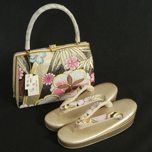 草履バックセット 西陣織正絹帯地仕様 紗織ブランド 振袖 訪問着 留袖 パールゴールド 桜 三枚芯 Sサイズ 日本製