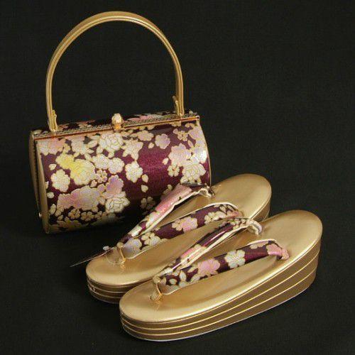 草履バックセット 振袖 訪問着 エンジパープル ゴールド 牡丹柄 丸筒型バック 三枚芯 Sサイズ 日本製