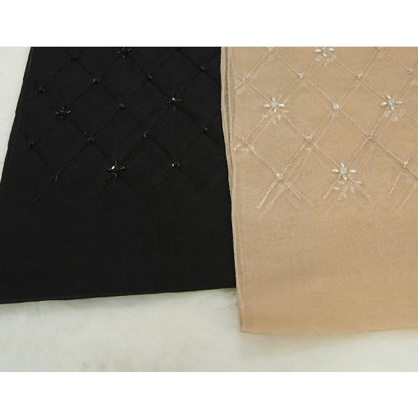 ショール シルクオーガンジー 刺繍柄リボンテープ