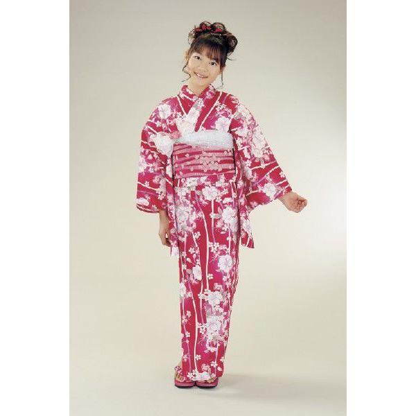 浴衣 ジュニアサイズ リョウコキクチブランドゆかた6点セット 赤 浴衣に結び帯、下駄、腰紐までついたセットです 140cm