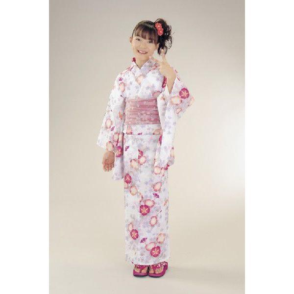 浴衣 ジュニアサイズ リョウコキクチブランドゆかた6点セット 白ピンク 浴衣に結び帯、下駄、腰紐までついたセットです 150cm