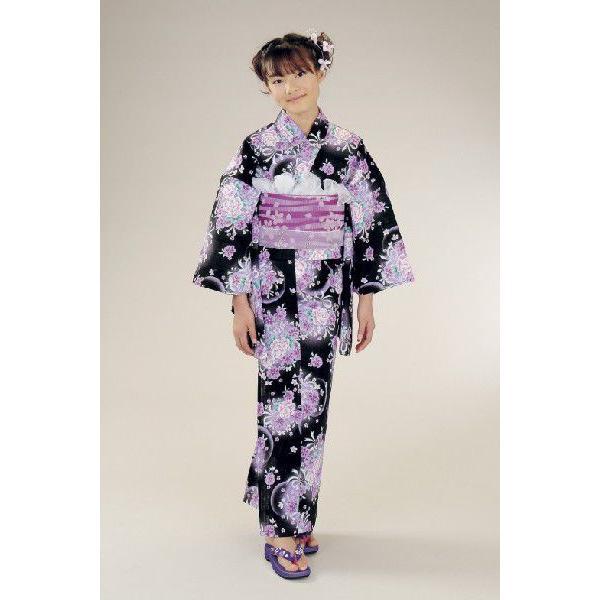 浴衣 ジュニアサイズ リョウコキクチブランドゆかた6点セット 黒紫色 浴衣に結び帯、下駄、腰紐までついたセットです 150cm
