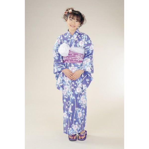 浴衣 ジュニアサイズ リョウコキクチブランドゆかた6点セット ブルー 浴衣に結び帯、下駄、腰紐までついたセットです 150cm