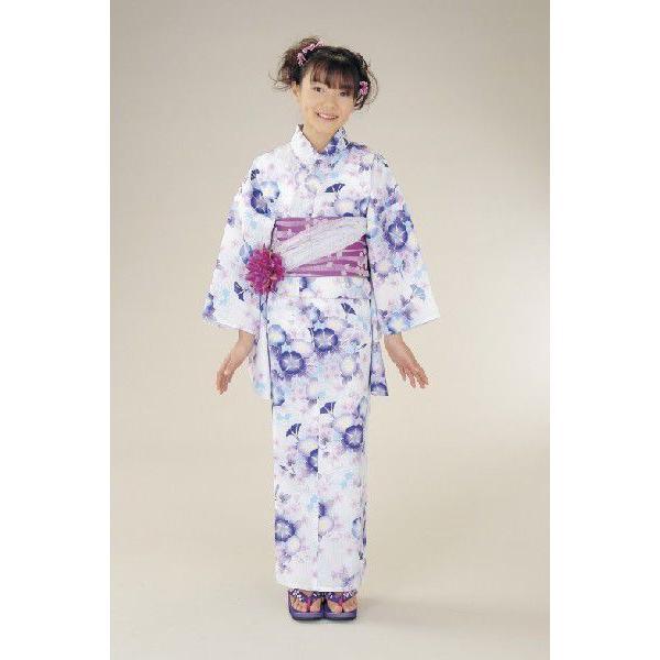 浴衣 ジュニアサイズ リョウコキクチブランドゆかた6点セット 白水色 浴衣に結び帯、下駄、縫い付け済み腰紐までついたセットです 130cm