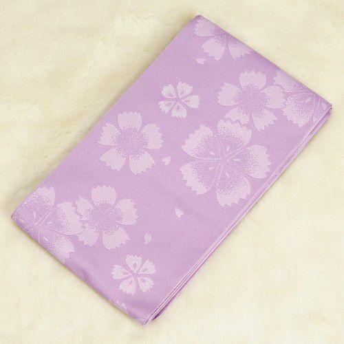 浴衣帯 ラベンダー色 柄タイプ 桜 袴下帯 単(ひとえ)帯 日本製