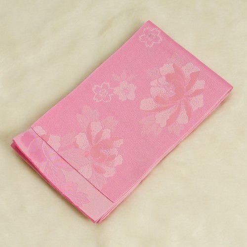 浴衣帯 ピンク色 柄タイプ 桜芍薬 単(ひとえ)帯 袴下帯 日本製