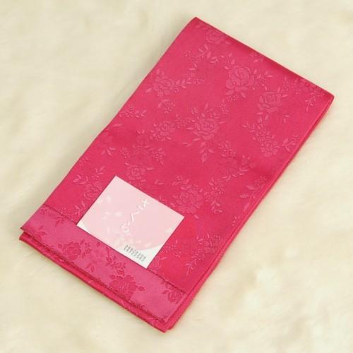 浴衣帯 濃ピンク色 柄タイプ 薔薇 袴下帯 単(ひとえ)帯 日本製